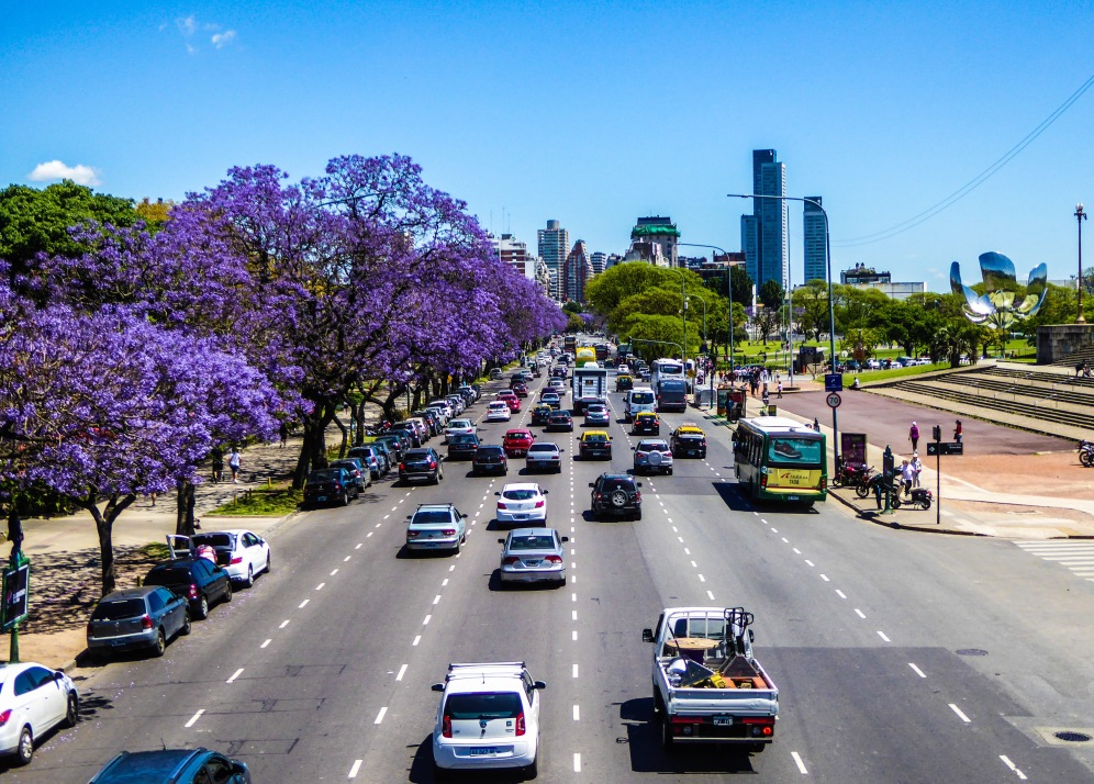Avenida Figueroa Alcorta, Recoleta, a destra la Floralis Generica, in lontananza i grattacieli di Palermo, a sinistra piante di Jacarandà, che fioriscono a primavera tingendo l'intera città di viola.